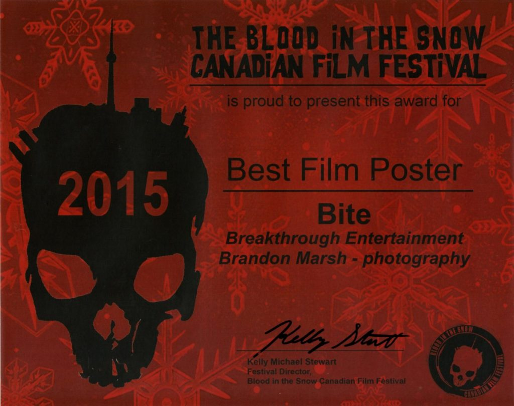 Blood in the Snow Award 2015, BITE the Movie, Best Poster Award, Brandon Marsh Photography, Dog & Pony, Breakthrough Entertainment, Black Fawn Films, Toronto, Canada, Los Angeles , USA