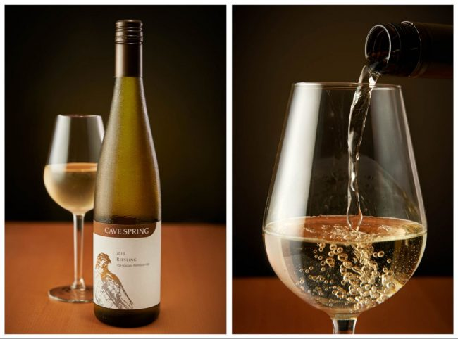 Cave Springs Riesling Product Photography and pouring wine in glass photo By Brandon Marsh Photography