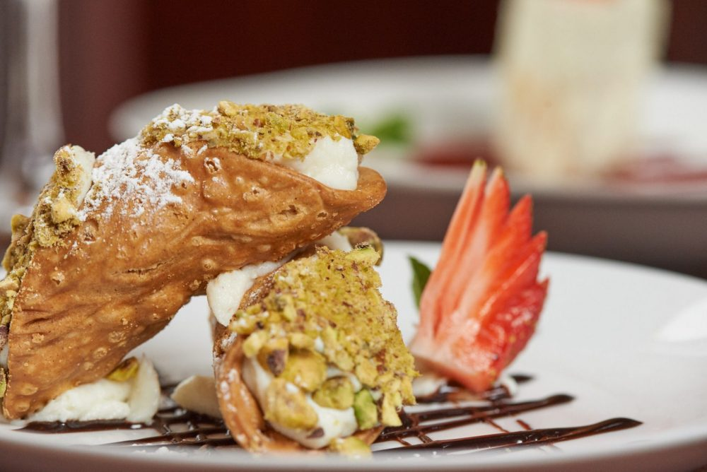 Food Photography of Canoli dessert at Ennios Pasta house in kitchener and waterloo ontario Photographed by Brandon Marsh Photography