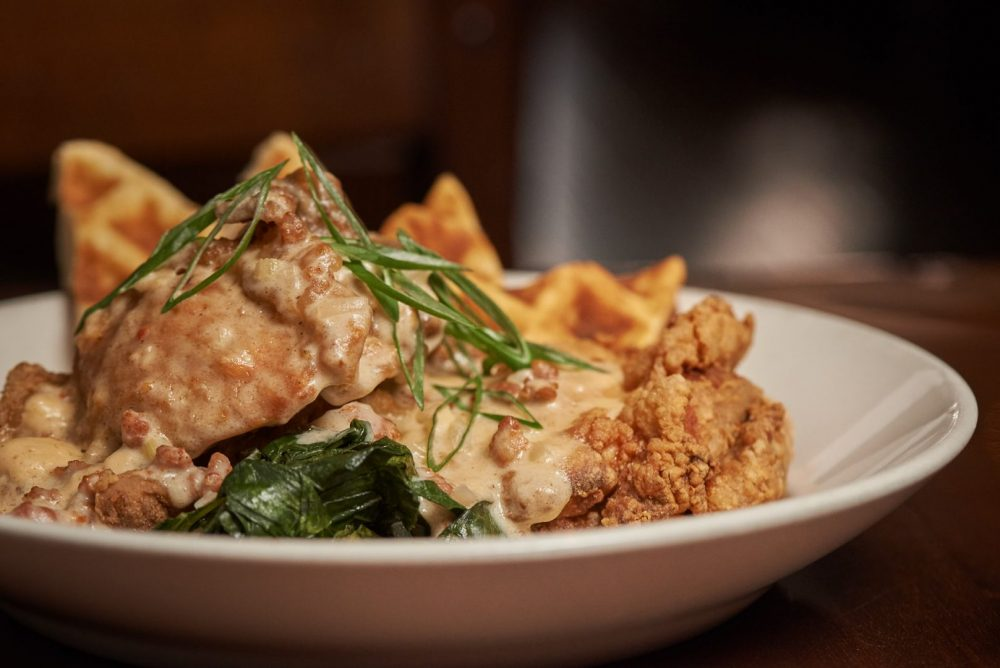 Food photography of buttermilk fried chicken plate at the grand trunk saloon in kitchener Photographed by Brandon Marsh Photography
