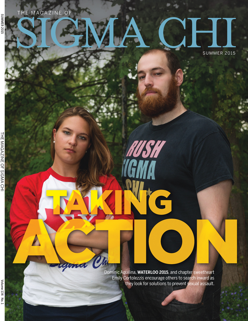 Tear Sheet Magazine cover from Sigma Chi Magazine about solutions to prevent sexual assault, university of waterloo, Photographed by Brandon Marsh Photography