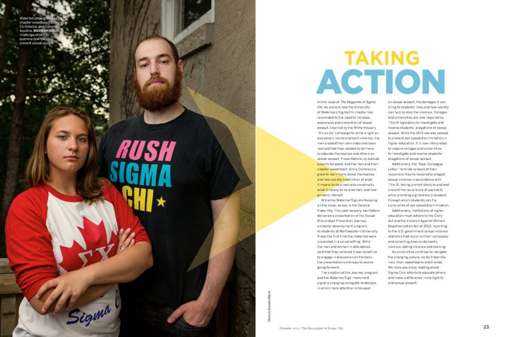 Tear sheet page 1 from magazine article in Sigma Chi Magazine about solutions to prevent sexual assault Photographed by Brandon Marsh Photography