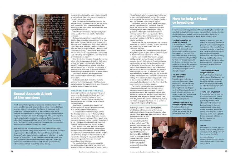 Tear sheet page 2-3 from magazine article in Sigma Chi Magazine Photographed about solutions to prevent sexual assault by Brandon Marsh Photography