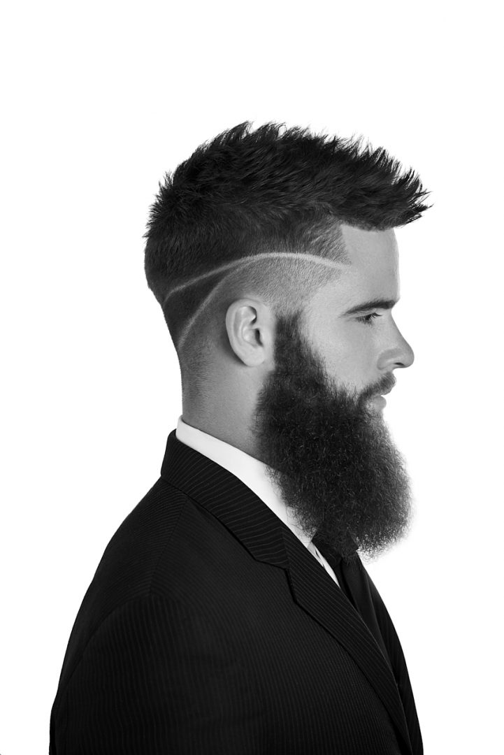 Black and White Beauty Side view headshot of men's hair and beard grooming for Men's Crew with Valentini Hair Design and Spa out of Guelph, Ontario Photographed by Brandon Marsh Photography