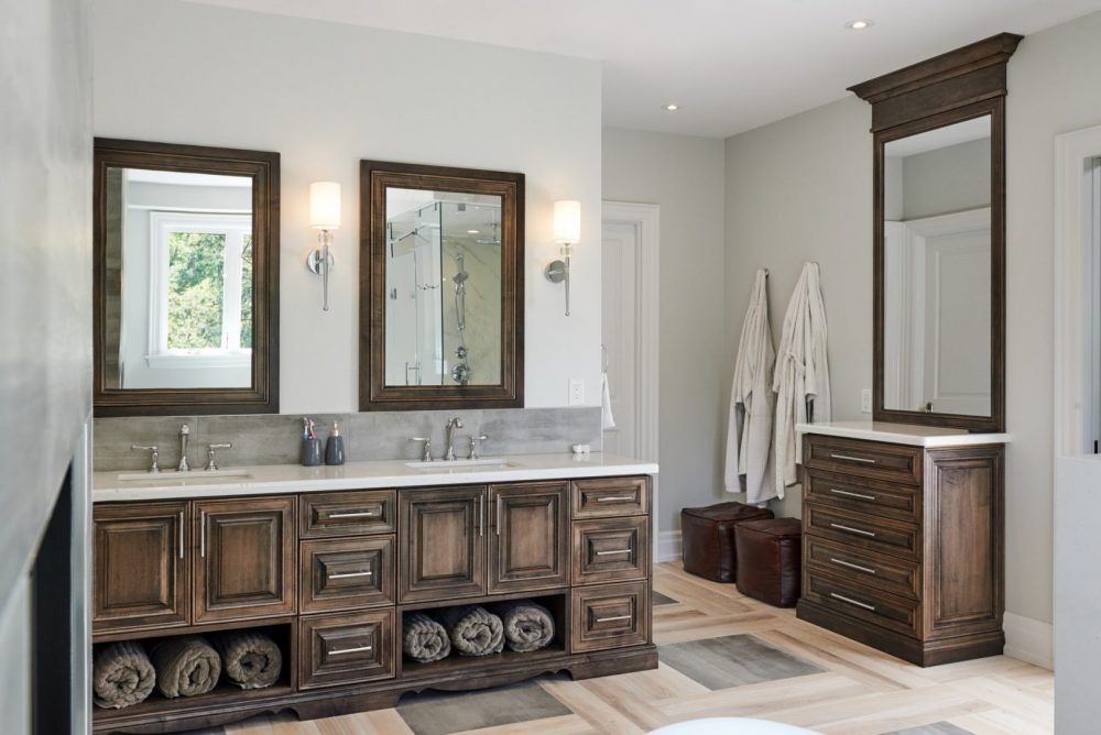 Architecture interior photography of a bathroom designed by Barzotti Woodworking LTD. Photographed by Brandon Marsh Photography