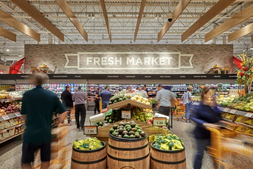 Photo of busy produce section at Pioneer Rd Zehrs Grand Reopening shot by brandon marsh photography in kitchener, ontario, canada
