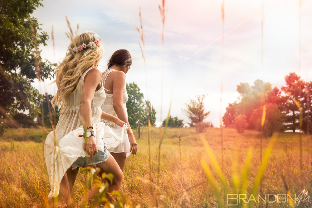 Portrait photography bohemian fashion female models with make-up and styling sunny day moody
