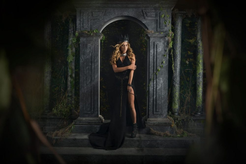 Creative Gothic Castle entrance environmental portrait of Model Ana Eve Set build in Studio, photographed and retouched by Brandon Marsh Photography