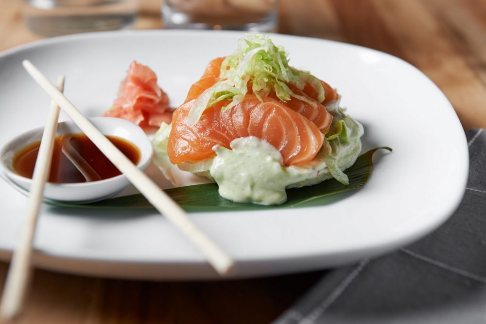 Food photography of sashimi and egg solution product Photographed by Brandon Marsh Photography