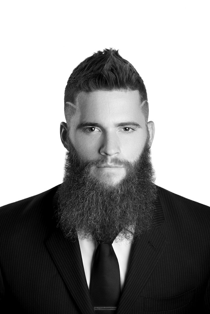 Black and White Beauty front view headshot of men's hair and beard grooming for Men's Crew with Valentini Hair Design and Spa out of Guelph, Ontario Photographed by Brandon Marsh Photography