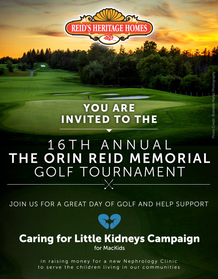 Advertising poster for Reid's Heritage Homes 16th annual golf tournament for Caring for Little Kidney's charity photography of a beautiful sunset over Whistle Bear Golf Course in Cambridge, Ontario Photographed by Brandon Marsh Photography
