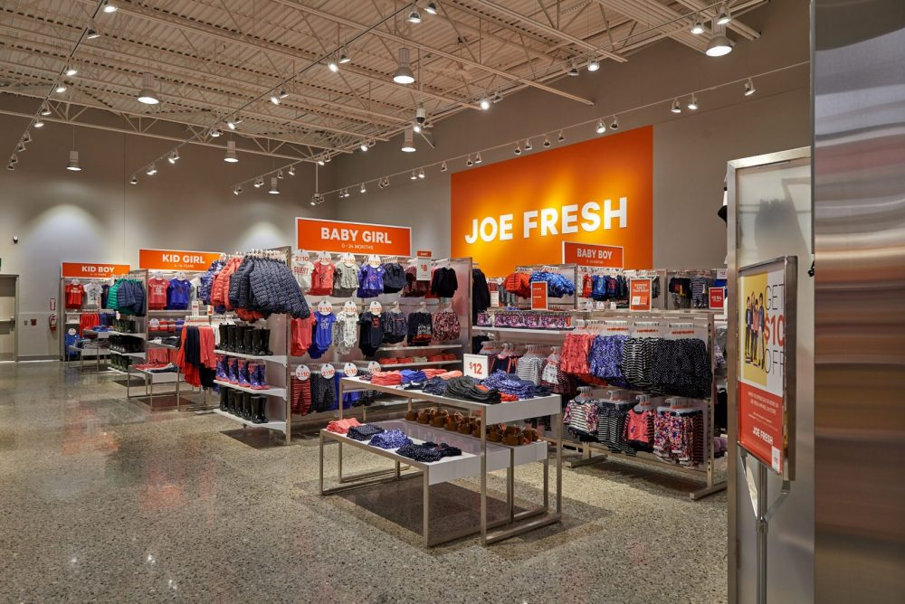 Photo of Joe Fresh Clothing section at Pioneer Rd Zehrs Grand Reopening shot by brandon marsh photography in kitchener, ontario, canada