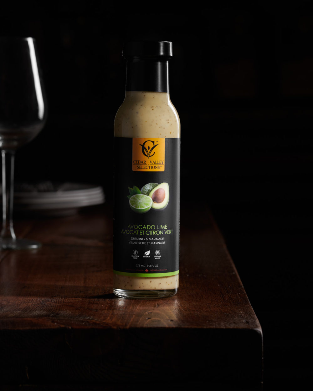 Environmental Product Photography of Cedar Valley Selections Avocado Lime Salad Dressing and Marinade by Brandon Marsh Photography and Food Stylist Laurie Cadman Creative