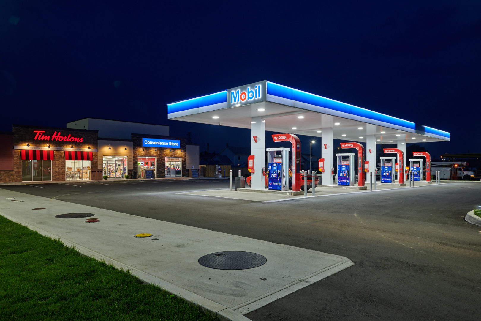 Before and After image of Global Fuels Mobil Gas station in Niagara Falls, Ontario photographed by architectural photographer Brandon Marsh Photography