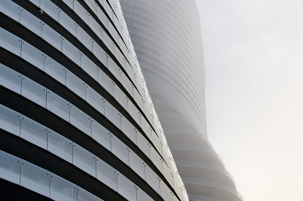 foggy abstract architecture photography of absolute towers (Monroe towers) in Mississauga Ontario Canada by Brandon Marsh Photography